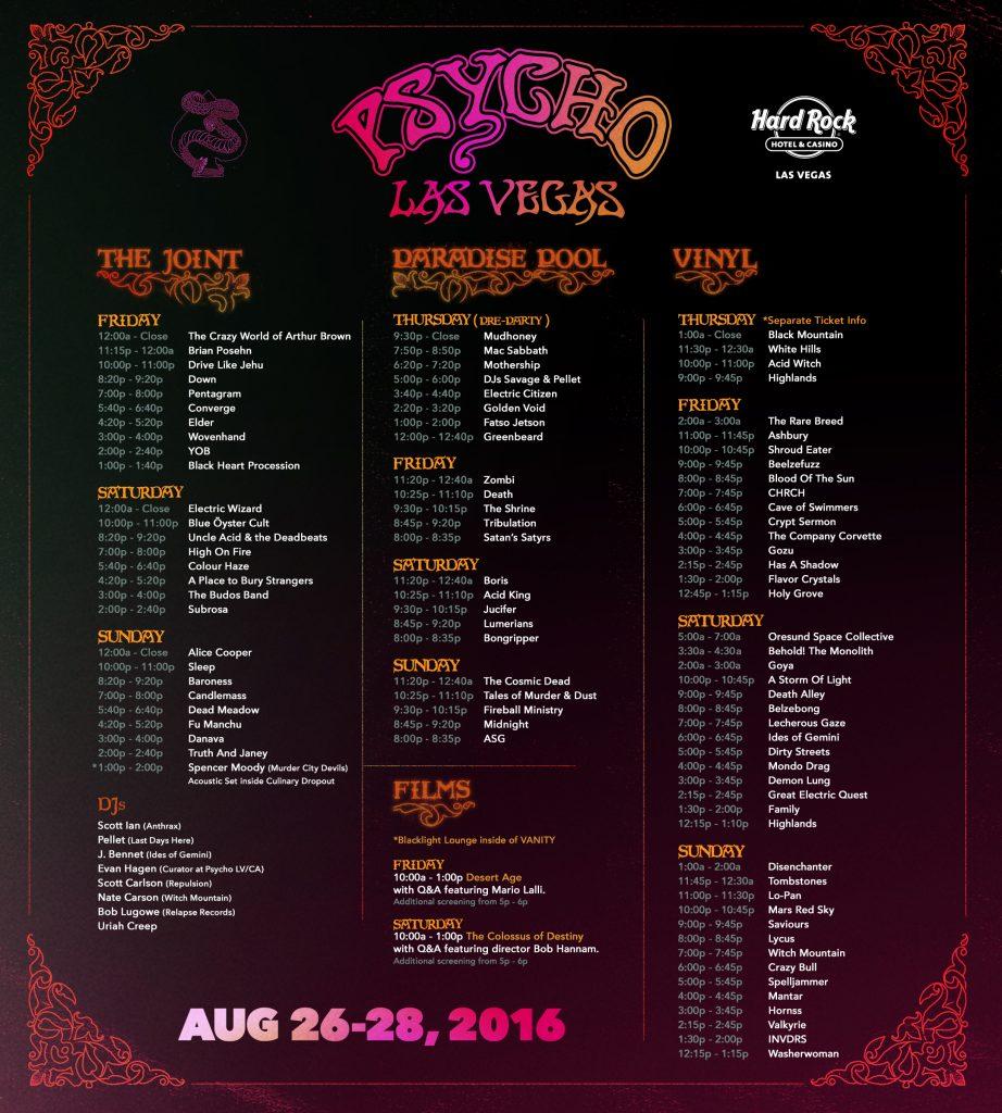 Psycho Las Vegas Set Times